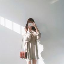 New Winter Warm Wool Twist Dress V-neck Slim Solid Dress Wine Red/Black/... - $15.88