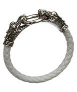White Men Bracelets Dragon PU Leather Silver Animal Chinese Zodiac Alloy  - $10.00