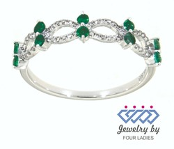 Emerald Birthstone 14K White Gold 0.25CT Natural Diamond Designer Ring J... - $276.39