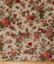 Cotton Flowers Floral Moths Nature Bed of Roses Beige Fabric Print BTY D... - $12.49
