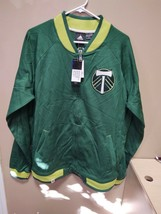 New Adidas MLS Portland Timbers Green Lifestyle Jacket Mens SZ Large 710FA - $33.25