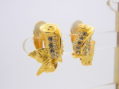 VTG GIVENCHY Paris New York Signed Gold Tone Rhinestone Rose Clip Earrings