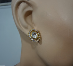 Trifari Oval Clear Crystal Pierced Earrings Set Signed Excellent Condition - $34.29