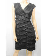 Adrianna Papell Size 8 Black Scalloped Sleeveless LBD Cocktail Dress Kne... - $63.36