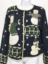 Ugly Christmas Sweater Womens S Christopher & Banks Navy Blue Snowmen Ca... - $33.81