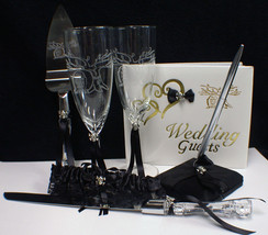 Till Death Do Us Part Halloween Wedding Lot Guest Book Glasses Knife Server Gart - $93.85