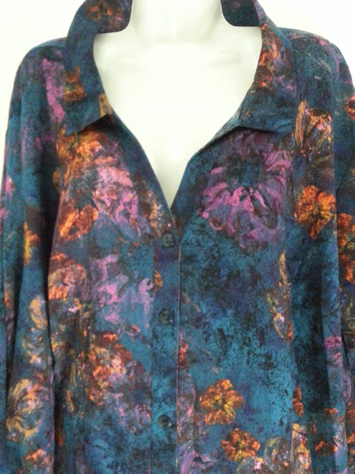 ca95cc6be8a CATHERINES BUTTON DOWN LONG SLEEVE SHIRT 2XP 22 24 PLUS SIZE PETITE TOP  BLOUSE