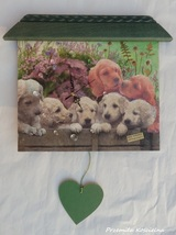 PAINTED CLOCK, PUPPIES, Pet portrait, Wall clock, Hand made clock, Decou... - $50.00