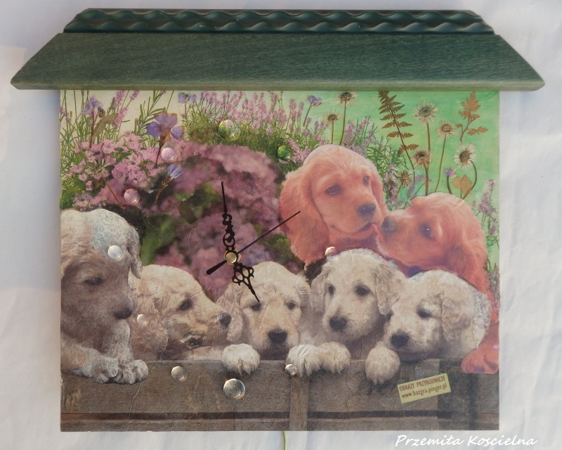 PAINTED CLOCK, PUPPIES, Pet portrait, Wall clock, Hand made clock, Decoupage 3D