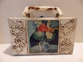 1960s Vintage Wood Handbag FORSUM Antique White Suitcase Style - $19.79