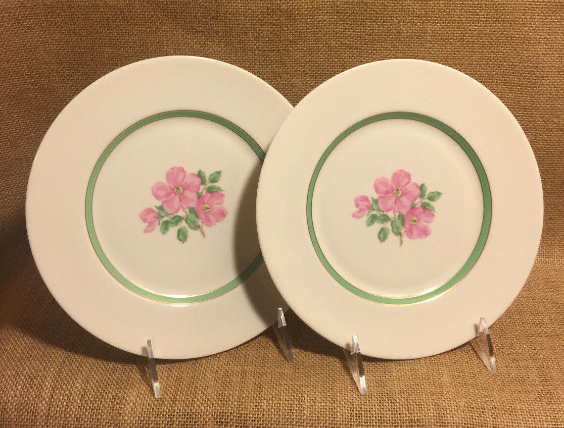 Franciscan Cherokee Rose Salad Plates Wide Green Band Two 2 plates Excellent!