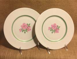 Franciscan Cherokee Rose Salad Plates Wide Green Band Two 2 plates Excel... - $17.99