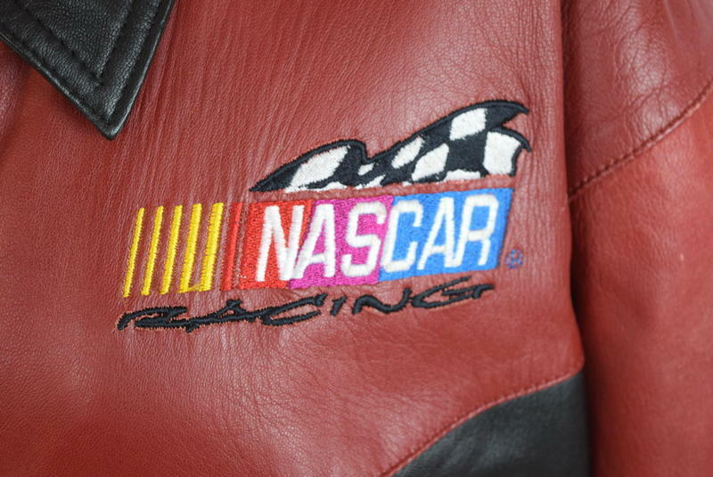 Vtg 90s Nascar Racing Soft Black & Red Luxe Leather Retro Bomber Jacket Mens S image 8