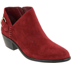 Vince Camuto Suede Booties with Buckle Detail - Parveen Beaujolais 10 W - $69.29