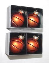 "Blown Glass Christmas Tree Ornaments LOT 4 Basketballs Sports Balls 2"" M... - $24.70"