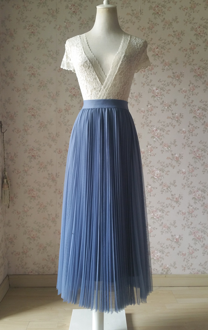 Dusty blue pleated tulle skirt small 700 3