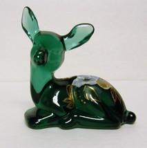 Fenton Art Glass # 5160 SE Spruce Green Fawn w/ HP Magnolia & Berry - $30.00