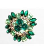 "Vintage Designer Green Rhinestones & Cabachon Dome Brooch Pin 2"" - $36.53"