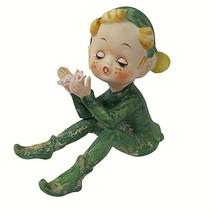 """Vintage Kelvins Elf Pixie Figurine 3"""" Green Christmas Everyday Blonde Hair - $19.79"""