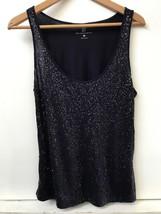 New York & Company Women's Sleeveless Scoop NecK Sequins Blue Tank Top S... - $15.95