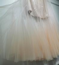 Women Blush Pink Tulle Maxi Skirt Blush Pink Sequin Tutu Mermaid Skirt Plus Size image 7