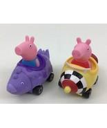 Peppa Pig Lot 2pc Dinosaur Car w George & Race Car Peppa Toys ABD 2003 - $12.82