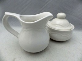 Pfaltzgraff Gazebo White pattern - Cream Pitcher & Sugar Bowl with Lid set - EUC - $10.40