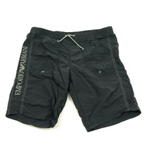 VINTAGE Emporic Armani Swim Trunks Men's Size 34 - 35 Adult Black Embroi... - $33.03