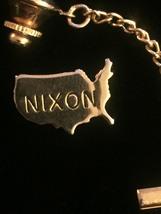 Vintage 60s NIXON Gold USA Tie Tack with Chain- rare! image 2