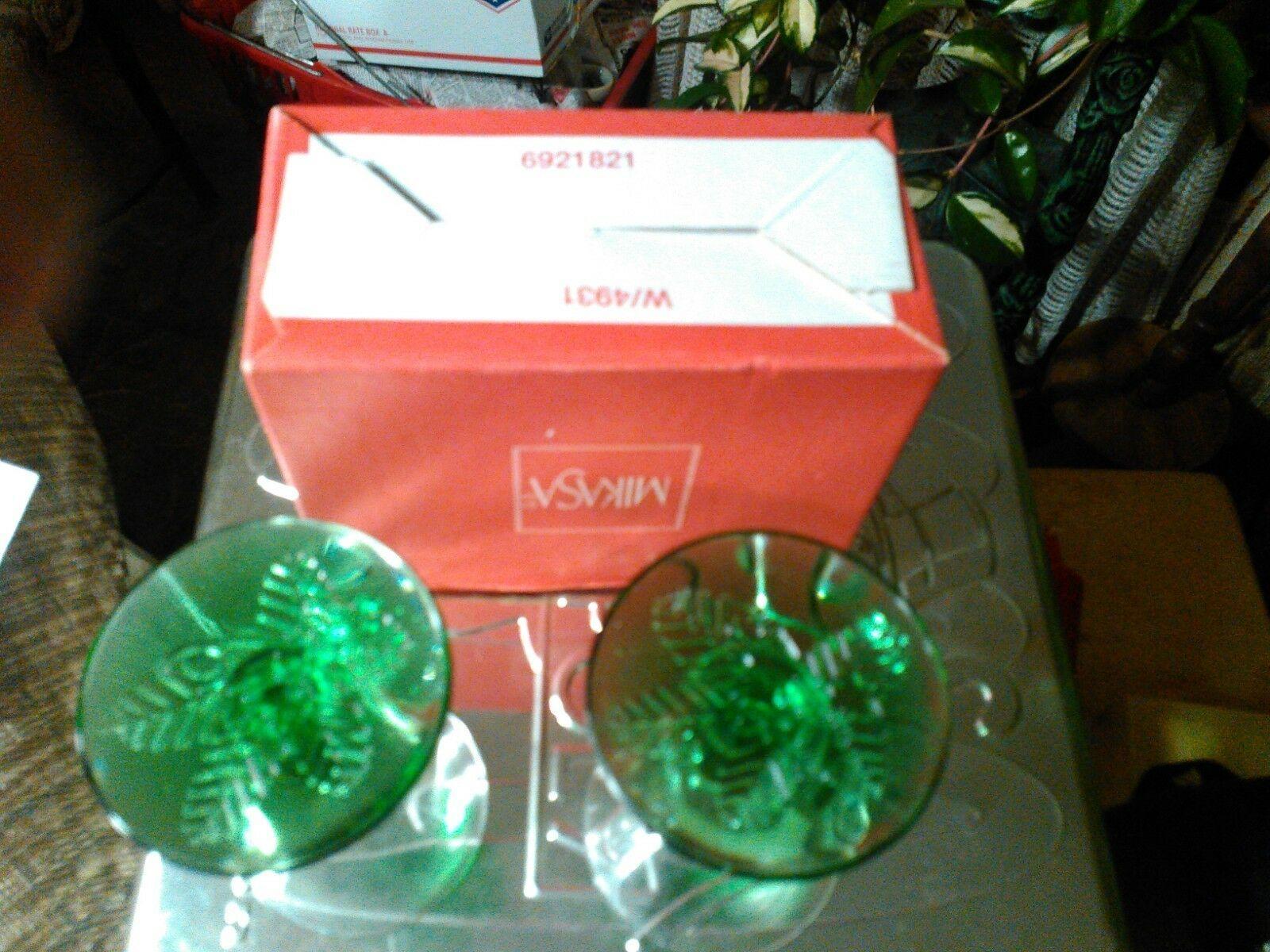 13#   Rare Beautiful Vintage Mikasa Pair Crystal Candle Holders Seasons Glow NIB