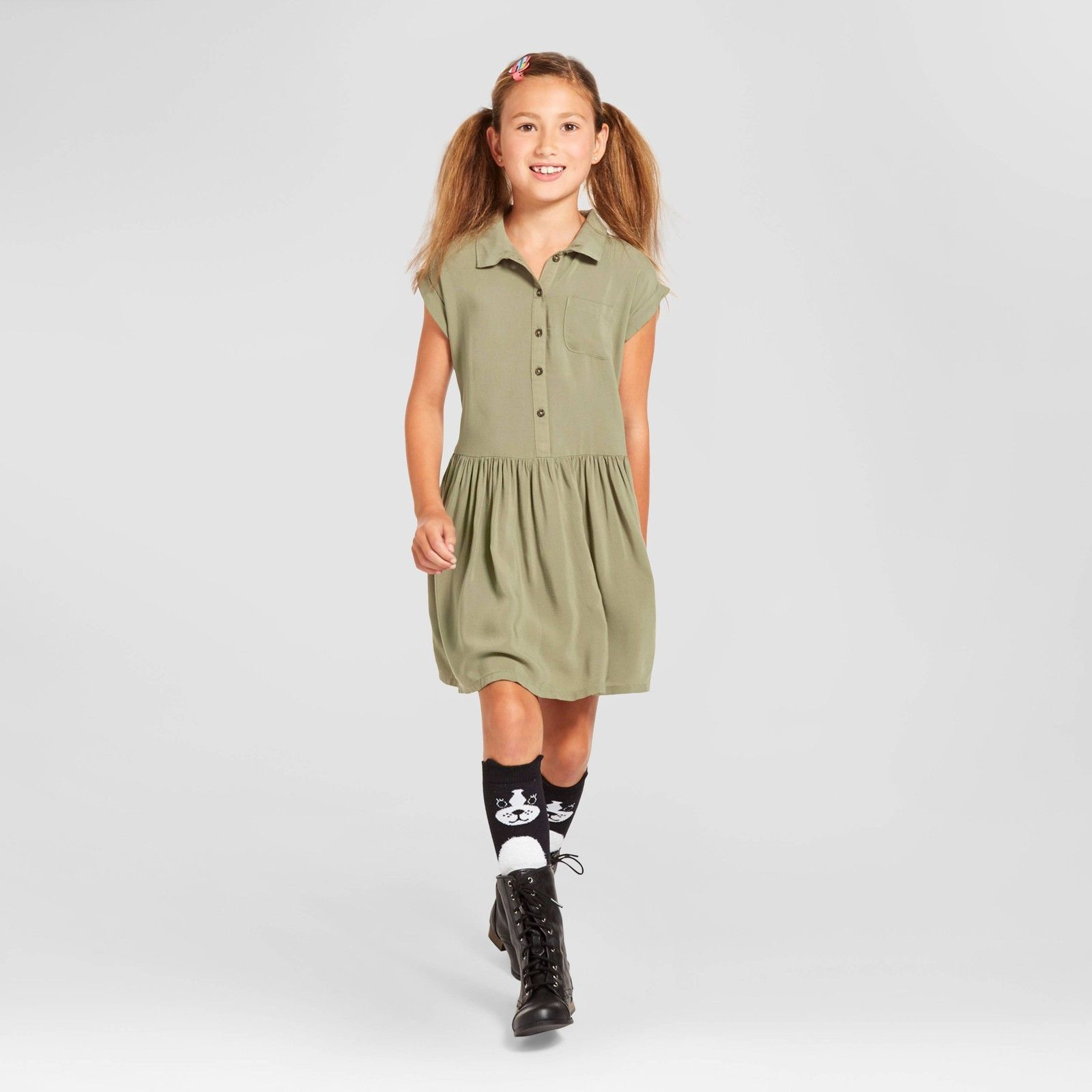 NWT Cat & Jack Girls' Sage A-Line Dress - Sizes XS 4/5 or XL 14/16