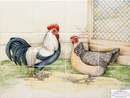 CHICKEN Decorative Hand Painted Ceramic Tiles Portuguese Panel Mural Bac... - $351.45