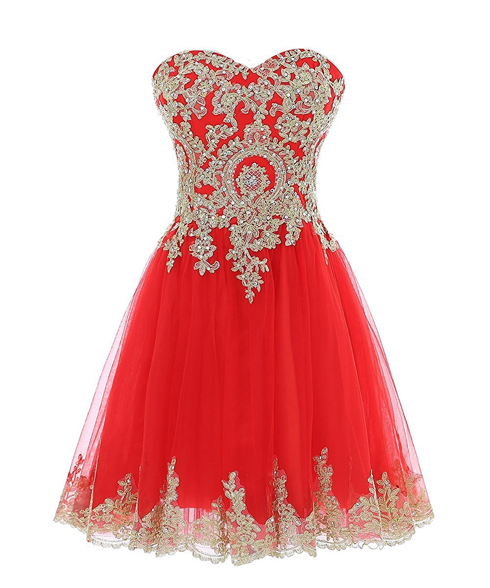Primary image for Sweetheart Red Lace Homecoming Dresses Appliques Short Prom Dresses 2018 Zipper