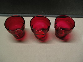3 Indiana Glass Ruby Red Candle Pot Tealight/Votive Candle Holders - $5.99