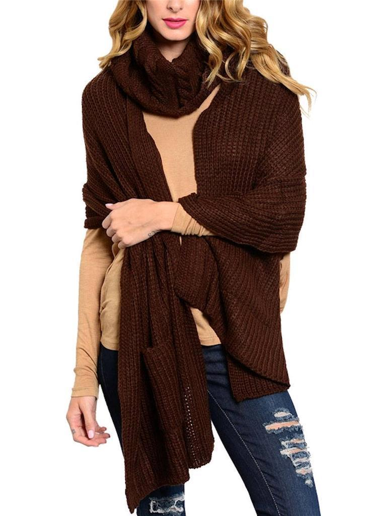 Primary image for Chocolate Brown Neck Warmer Thick Acrylic Knit Long Scarf w/ Pockets 2 Piece Set