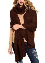 Chocolate Brown Neck Warmer Thick Acrylic Knit Long Scarf w/ Pockets 2 P... - $25.19