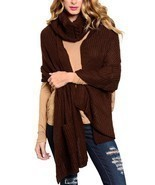 Chocolate Brown Neck Warmer Thick Acrylic Knit Long Scarf w/ Pockets 2 P... - £19.47 GBP