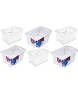 6 Pack Sterilite 19148006 48 Qt Clear Base Hinged Lid Storage Box Tote C... - $80.90