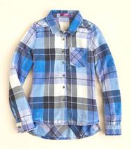 AQUA Girls' Plaid Button Down Shirt, Violet Blue, Size M, $44 - $14.84