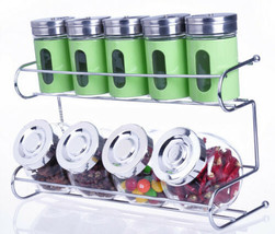 Metal & Glass Spice Shakers Glass Jars 9 Canister 2 Tier Wire Rack Display - €44,81 EUR