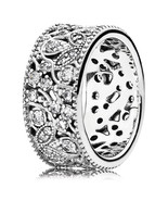 925 Sterling Silver Shimmering Leaves Ring with Clear Zirconia QJCB761 - $32.68