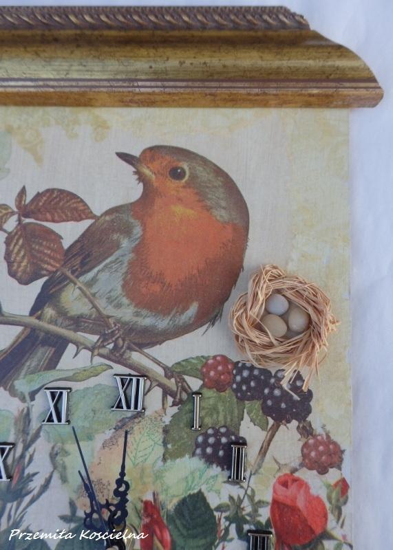 PAINTED CLOCK, BIRD, Wall clock, Hand made clock, Decoupage 3D, Wall decor, Art