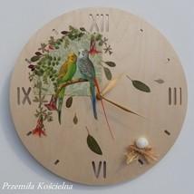 WALL CLOCK, PAINTED CLOCK, BIRDS, HAND MADE, WOODEN CLOCK, Decoupage, Wa... - $50.00