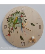 WALL CLOCK, PAINTED CLOCK, BIRDS, HAND MADE, WOODEN CLOCK, Decoupage, Wa... - $50.00