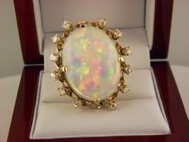 14k Gelbgold 16 CT Australian Precious Opal & Diamanten Statement Ring S... - $5,791.85