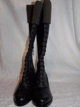 Cole Haan Nike Air WHITLEY 6B Black Leather Knee High Pull Up Boots New - $247.49