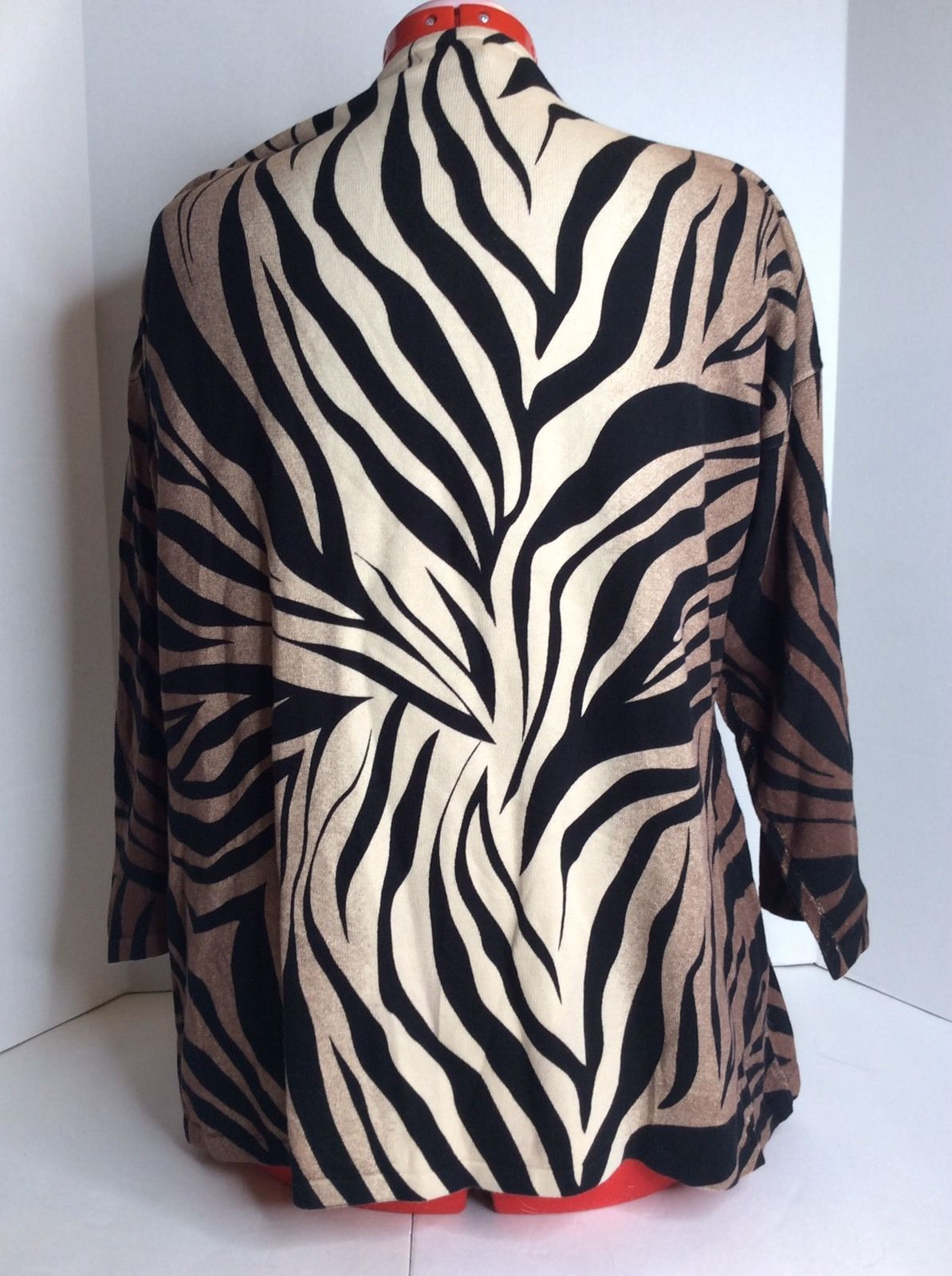 JM Collection Black Beige Animal Zebra Print Long Sleeve Top Blouse Shirt Sz XL