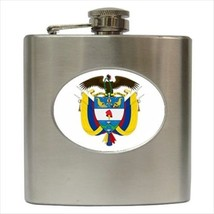 Colombia Coat Of Arms Hip Flask (Classic Stainless Steel) - Heraldic Tabard - $14.35