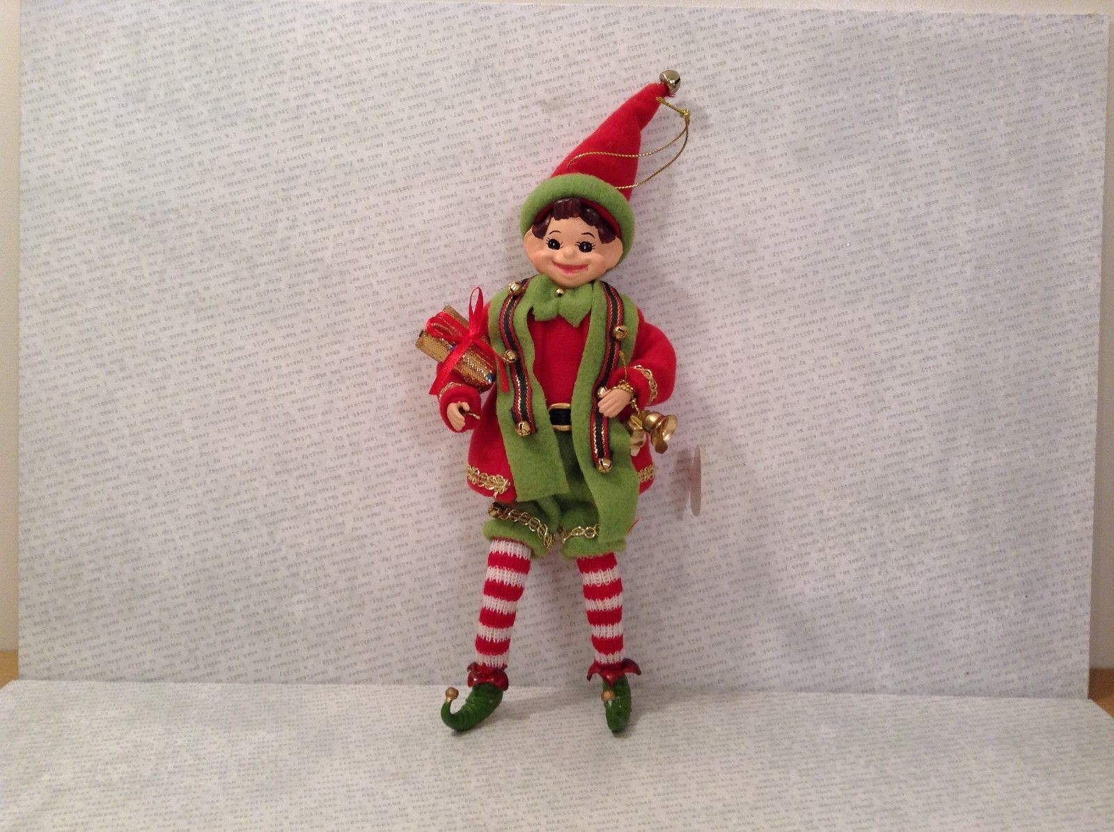 Charming detailed elf red and green w present ornament posable shoe bells