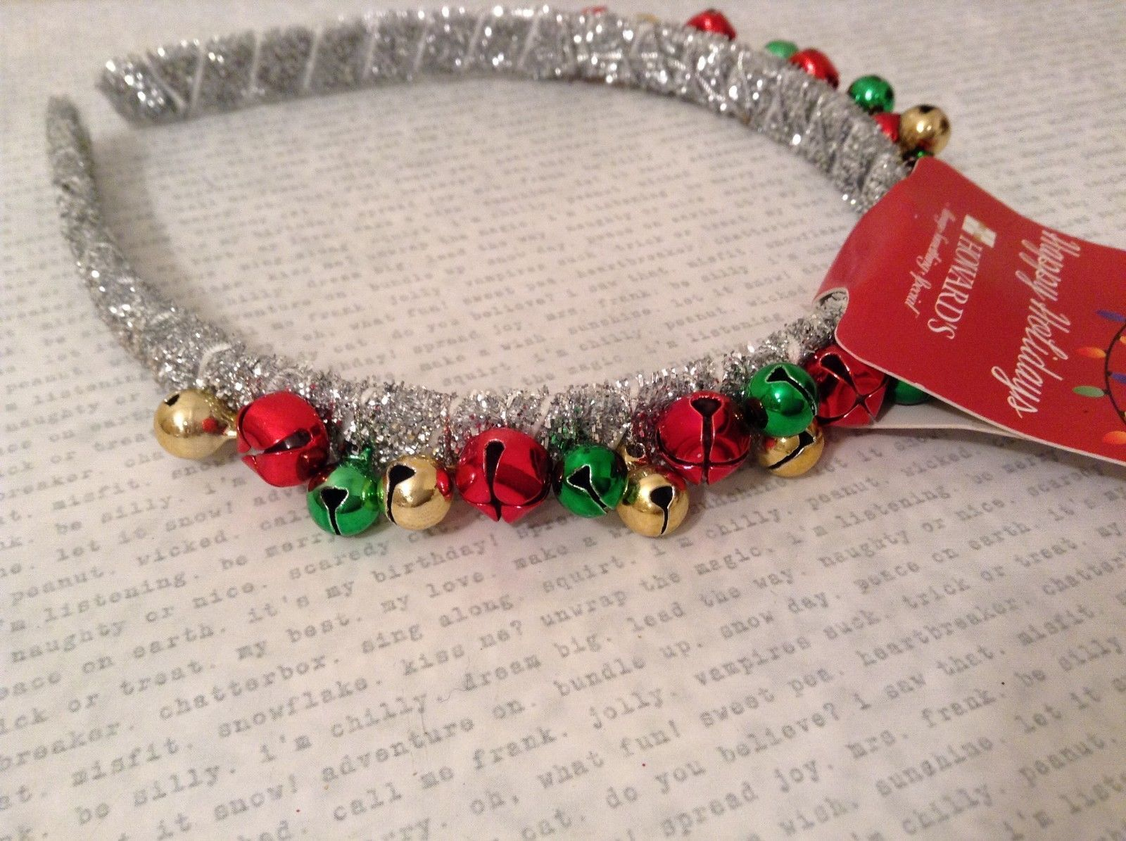 Jingle bell fashion head wear band choice of color way silver red green headband